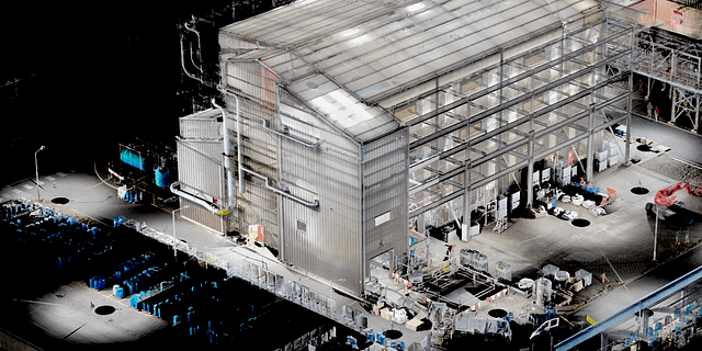 Registered 3D Laser Scan Point Cloud of a Warehouse