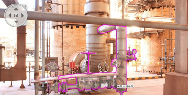 Digital Twin Panoramic Image Showing Hotspot of a Tagged Pipe